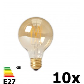 Calex - Vintage LED Lamp 240V 4W 320lm E27 GLB80 GOLD 2100K Dimbaar - Vintage Antiek - CA073-10x www.NedRo.nl