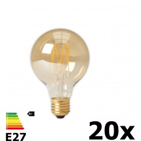 Calex - Vintage LED Lamp 240V 4W 320lm E27 GLB80 GOLD 2100K Dimmable - Vintage Antique - CA073-20x www.NedRo.us