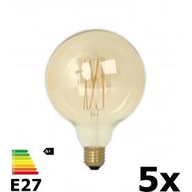 Calex - Vintage LED Lamp 240V 4W 320lm E27 GLB125 GOLD 2100K Dimbaar - Vintage Antiek - CA076-5x www.NedRo.nl