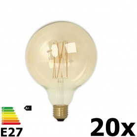 Calex - Vintage LED Lamp 240V 4W 320lm E27 GLB125 GOLD 2100K Dimmable - Vintage Antique - CA076-20x www.NedRo.us