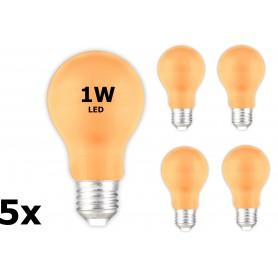 Calex - E27 1W Oranje LED A60 Normaallamp 240V 12lm - E27 LED - CA033-5x www.NedRo.nl