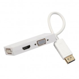 3in1 DisplayPort DP Male naar DVI, HDMI en VGA Female
