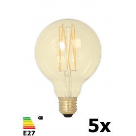 Calex - Vintage LED Lamp 240V 4W 320lm E27 GLB95 GOLD 2100K Dimmable - Vintage Antique - CA078-5x www.NedRo.us