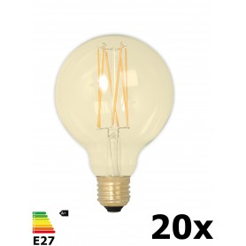 Calex - Vintage LED Lamp 240V 4W 320lm E27 GLB95 GOLD 2100K Dimmable - Vintage Antique - CA078-20x www.NedRo.us