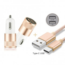 Oem - Duo 2.1A / 1A Car Charger Adapter + USB Type C Cable Set - Auto charger - AL603-CB