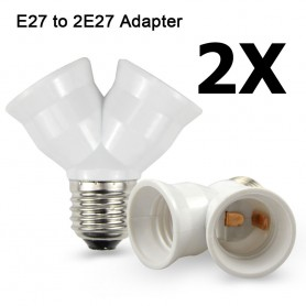 NedRo, E27 to 2 x E27 Converter Splitter Adapter - 2 pieces, Light Fittings, AL263-CB, EtronixCenter.com