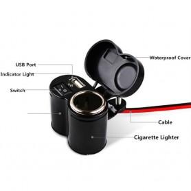NedRo - Motor Fiets USB Sigarettenaansteker Laadcontactdoos - Aanstekerplugs - AL594 www.NedRo.nl