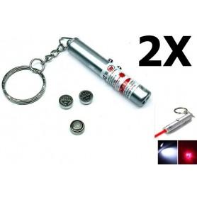 NedRo - Sleutelhanger 2in1 laserpen + Led Light YOO004 - Zaklampen - YOO004-2x www.NedRo.nl