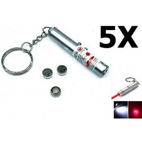 NedRo - Sleutelhanger 2in1 laserpen + Led Light YOO004 - Zaklampen - YOO004-5x www.NedRo.nl