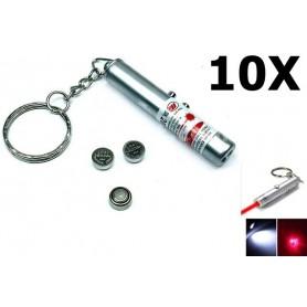 NedRo - Sleutelhanger 2in1 laserpen + Led Light YOO004 - Zaklampen - YOO004-10x www.NedRo.nl