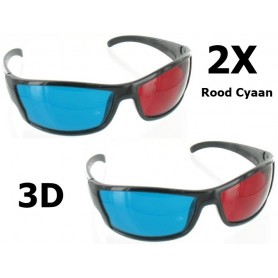 NedRo - Rood Cyaan 3D Bril Zwart YOO038 - TV accessoires - YOO038-2x www.NedRo.nl
