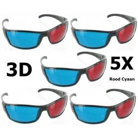 NedRo - Red Cyan 3D Glasses Black YOO038 - TV accessories - YOO038-5x www.NedRo.us