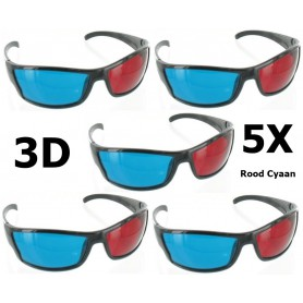 NedRo - Rood Cyaan 3D Bril Zwart YOO038 - TV accessoires - YOO038-5x www.NedRo.nl