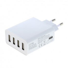 4-Port 100-250V 5.0A Multi USB-adapter with AUTO-ID white