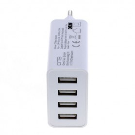OTB - 4-Port 100-250V 5.0A Multi USB-adapter with AUTO-ID white - Ports and hubs - ON4625-C www.NedRo.us