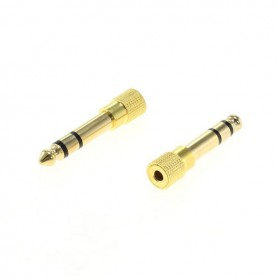3.5mm to 6.35mm jack adapter stereo (female to male) gold plated - 2 pieces