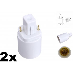 NedRo - G24 naar E27 Fitting Omvormer Converter - Lamp Fittings - AL088-2x www.NedRo.nl