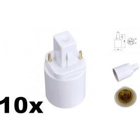 NedRo - G24 to E27 Base Converter Adapter - Light Fittings - AL088-10x www.NedRo.us
