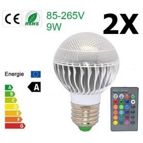 NedRo - Aanbieding 9W E27 RGB LED Bulb met afstandbediening CG007 - E27 LED - CG007-2x www.NedRo.nl