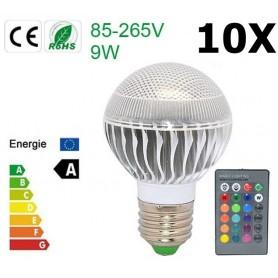 NedRo - Aanbieding 9W E27 RGB LED Bulb met afstandbediening CG007 - E27 LED - CG007-10x www.NedRo.nl