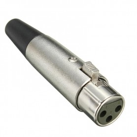 NedRo - 6mm 3 Pin XLR Jack Female-Adapter For Microphone Speaker 18AWG Cable Silver - Audio adapters - AL889