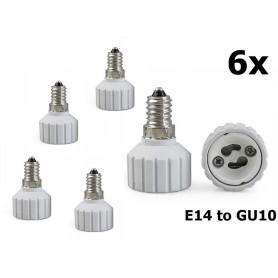 NedRo - E14 to GU10 Socket Converter - Light Fittings - Al492-6x www.NedRo.us