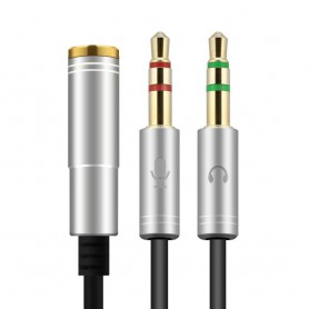 HOCO - 3.5mm Female Dual Male Headset Mic Audio Splitter - Audio kabels - AL485-CB www.NedRo.nl