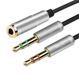 HOCO, 3.5mm Female Dual Male Headset Mic Audio Splitter, Audio cables, AL485-CB, EtronixCenter.com