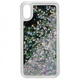 Peter Jäckel, Glamour backcover voor iPhone X - zilver-groen glitters, iPhone telefoonhoesjes, ON4777, EtronixCenter.com