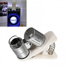 NedRo - 8MM 60x Zoom microscoop loep loeplens met LED UV en wit clip - Loepen en Microscopen - AL465-C www.NedRo.nl