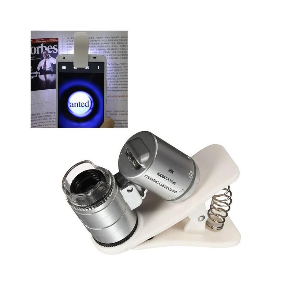 NedRo - Zoom-Mikroskop-Vergrößerungsglas 8MM 60X mit LED UV- und weißem Klipp - Magnifiers microscopes - AL465 www.NedRo.de
