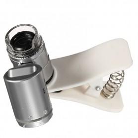 NedRo - 8MM 60x Zoom microscoop loep loeplens met LED UV en wit clip - Loepen en Microscopen - AL465 www.NedRo.nl