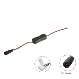 NedRo, 8mm 2-Pin Single Color LED Strip DC Female Wire Switch, LED Accessories, LSCC24-CB, EtronixCenter.com