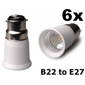 NedRo - B22 naar E27 Fitting Omvormer - Lamp Fittings - AL262-6x www.NedRo.nl