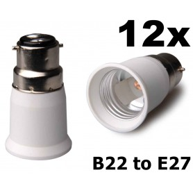 NedRo - B22 naar E27 Fitting Omvormer - Lamp Fittings - AL262-12x www.NedRo.nl