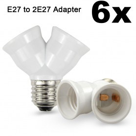 NedRo - E27 naar 2 x E27 Converter Splitter Adapter - Lamp Fittings - AL263-6x www.NedRo.nl
