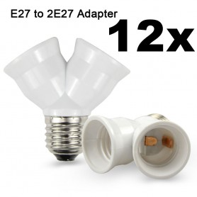 NedRo - E27 naar 2 x E27 Converter Splitter Adapter - Lamp Fittings - AL263-12x www.NedRo.nl