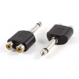 NedRo - 6.35mm Mono Male naar 2x RCA Female - Audio adapters - AL856-CB www.NedRo.nl
