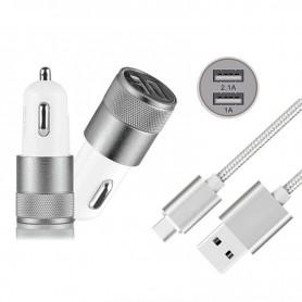 NedRo, Duo 2.1A/1A Adaptor Auto + cablu USB tip C USB-C, Încărcător auto, AL603-CB, EtronixCenter.com