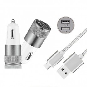 NedRo, Duo 2.1A/1A Autolader adapter + USB Type C Kabel set, Aanstekerplugs, AL603-CB, EtronixCenter.com