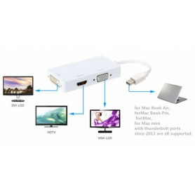 NedRo - 3in1 Mini DP Male to DVI, HDMI and VGA Female - DVI and DisplayPort adapters - AL005-CB www.NedRo.us