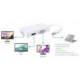 NedRo - 3in1 Mini DP Male naar DVI, HDMI en VGA Female - DVI en DisplayPort adapters - AL005-W www.NedRo.nl