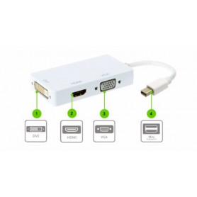 NedRo, 3in1 Mini DP Male la DVI, HDMI and VGA Female, DVI si DisplayPort adaptoare, AL005-CB, EtronixCenter.com