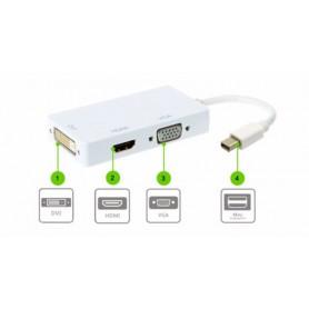 NedRo, 3in1 Mini DP Male naar DVI, HDMI en VGA Female, DVI en DisplayPort adapters, AL005-CB, EtronixCenter.com