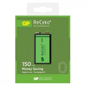 GP - GP 6F22/9V GP ReCyko+ 150 Series 150mAh Rechargeable - Other formats - BL265-1x www.NedRo.us