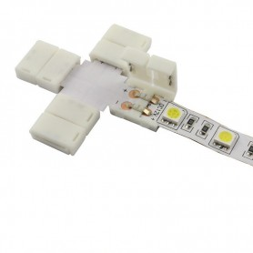 NedRo - 10mm X Connector voor 1 kleur SMD5050 5630 LED strips - LED connectors - LSC26-1x www.NedRo.nl