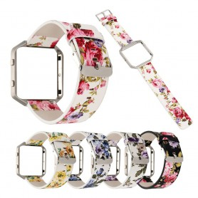 Flowery Hip Eco Leather Bracelet for Fitbit Blaze with Housing