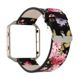 NedRo - Bloemrijk Hip Eco Leer Armband voor Fitbit Blaze met Behuizing - Armbanden - AL089-BL www.NedRo.nl