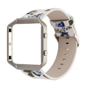 NedRo - Bloemrijk Hip Eco Leer Armband voor Fitbit Blaze met Behuizing - Armbanden - AL089-BU www.NedRo.nl