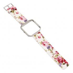 NedRo - Bloemrijk Hip Eco Leer Armband voor Fitbit Blaze met Behuizing - Armbanden - AL089-PI www.NedRo.nl